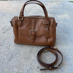 Coach brown leather purse with removable strap.